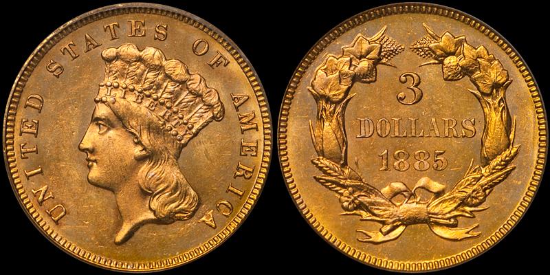 1885 $3.00 PCGS MS64