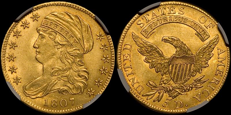 1807 $5.00 NGC MS62