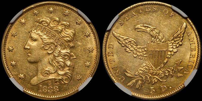 1838-C $5.00 NGC MS60