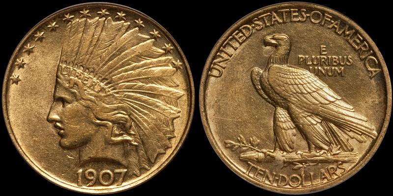 1907 No Periods $10.00 PCGS AU55 CAC