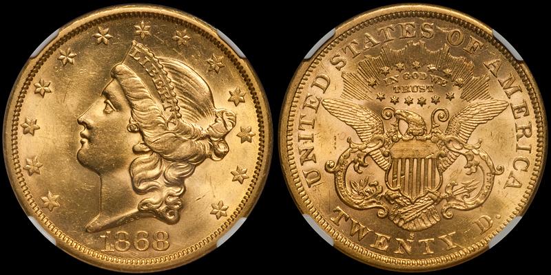 1868-S $20.00 NGC MS62