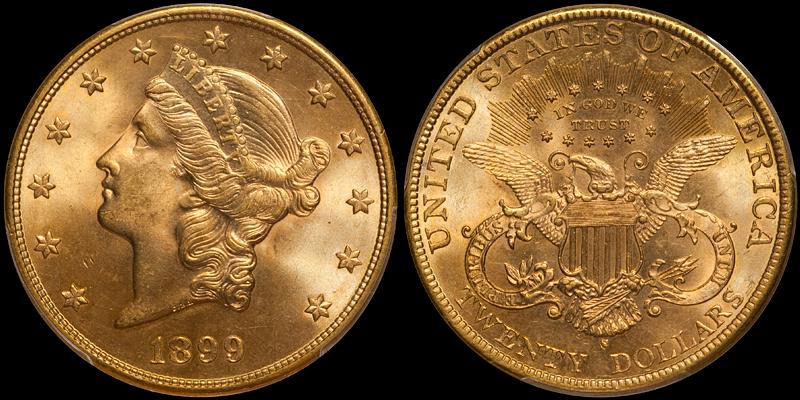 1899-S $20.00 PCGS MS65