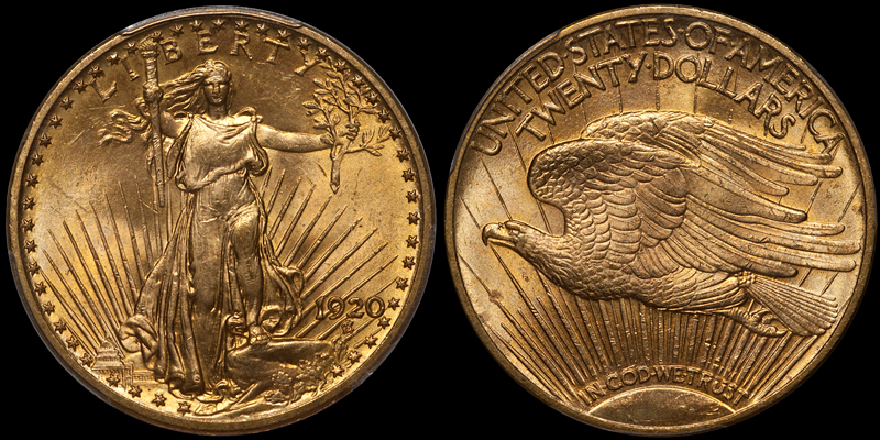 1920 $20.00 PCGS MS64 CAC