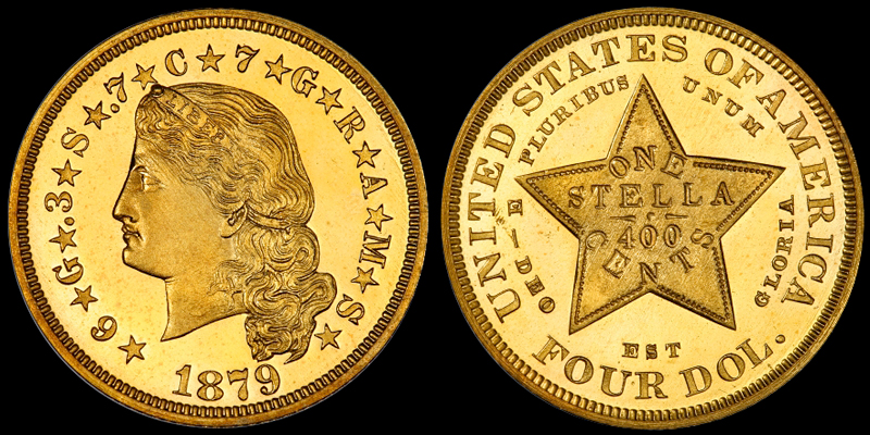 1879 Flowing Hair $4.00 Stella, courtesy of CoinFacts