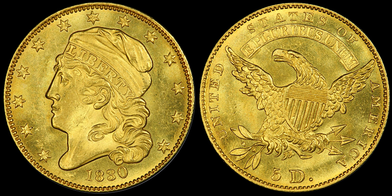 1830 Capped Head Left Small Size $5.00, courtesy of PCGS CoinFacts
