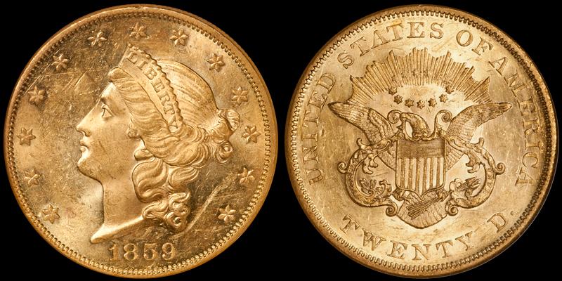 1859 $20.00 NGC MS60