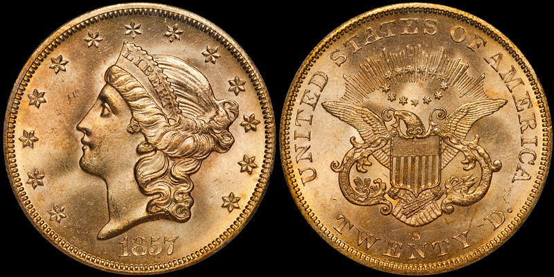 1857-S $20.00 PCGS MS65 CAC, SSCA