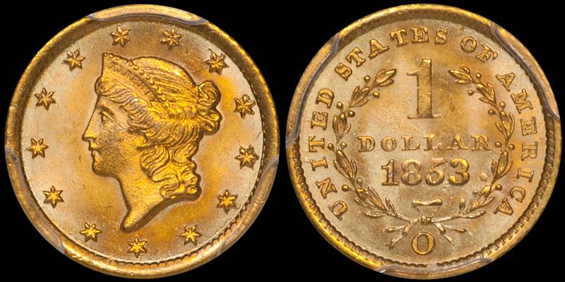 1853-O $1.00 PCGS MS66 CAC