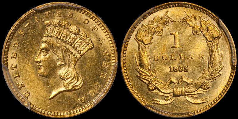 1863 $1.00 PCGS MS64