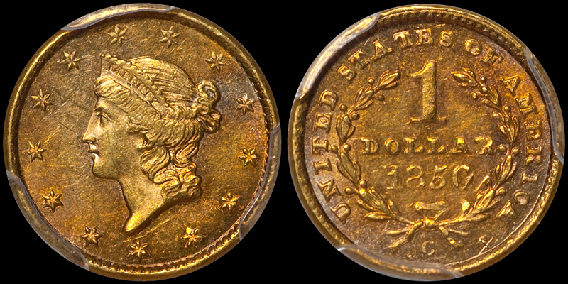 1850-C $1.00 PCGS MS62