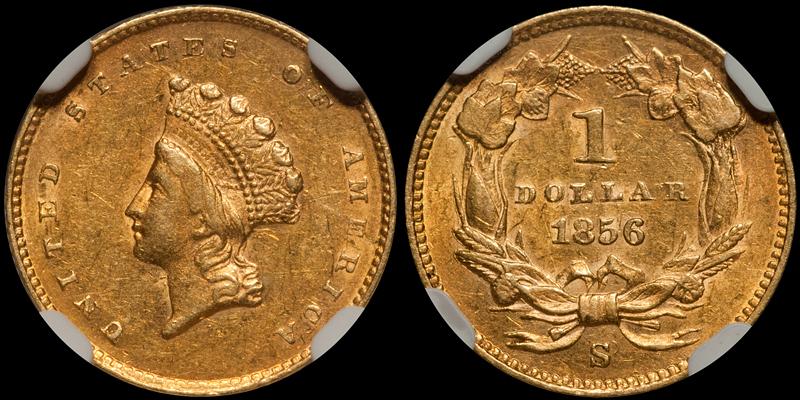 1856-S/S $1.00 NGC AU58 CAC