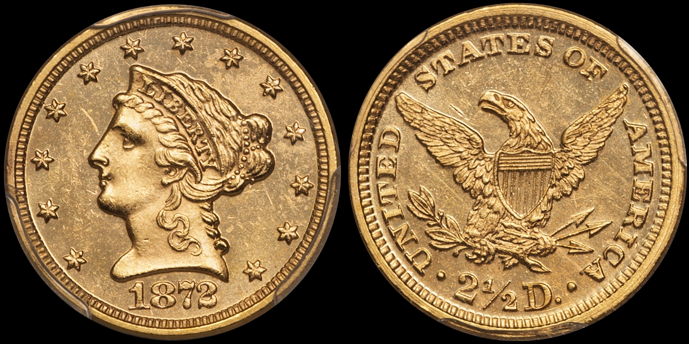 1872 $2.50 PCGS MS63 CAC, Kentucky Collection