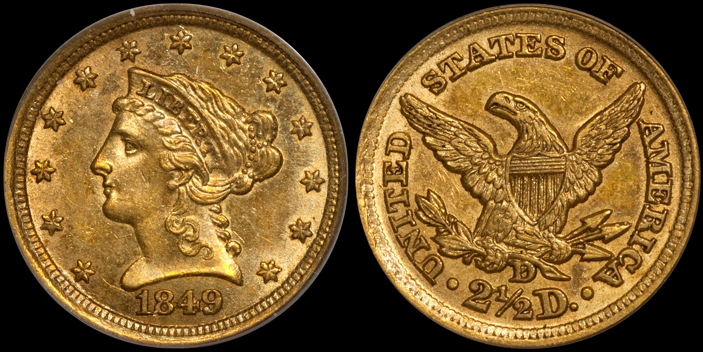 1849-D $2.50 PCGS MS60 CAC, Kentucky Collection