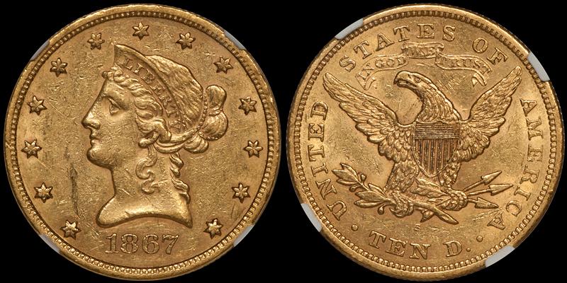 1867-S $10.00 NGC AU58
