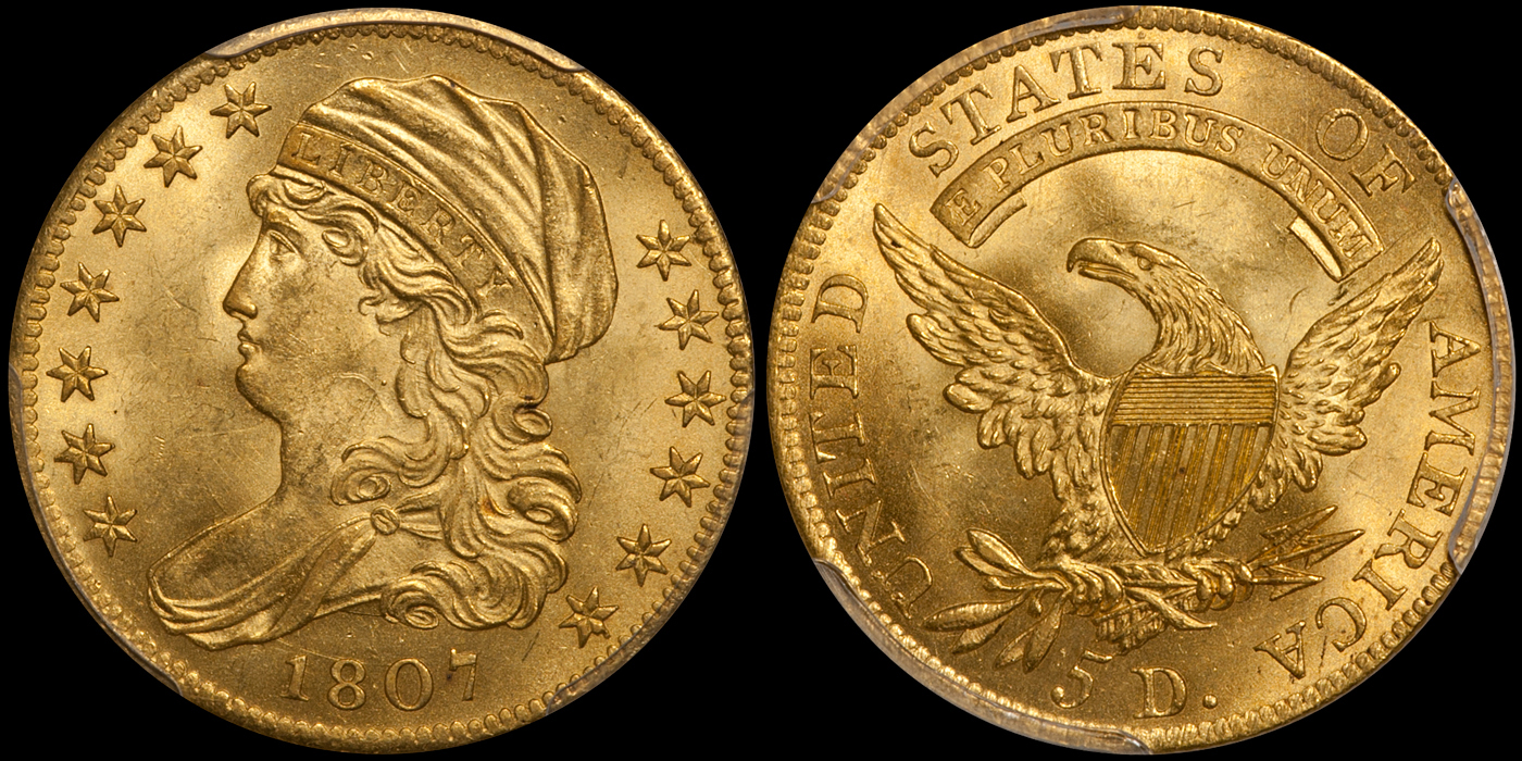 1807 Bust Left $5.00 PCGS MS64 CAC