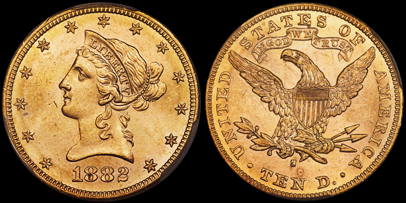 1882-S $10.00 PCGS MS63, image courtesy of Heritage