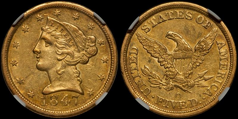 1847-O $5.00 NGC AU55