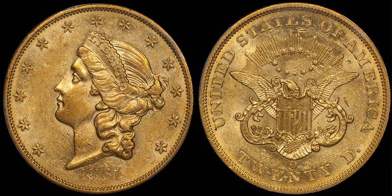 1861-O $20.00 PCGS AU55+