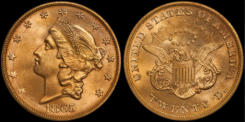 1865-S $20.00 PCGS MS64 CAC, ex SS Brother Jonathan