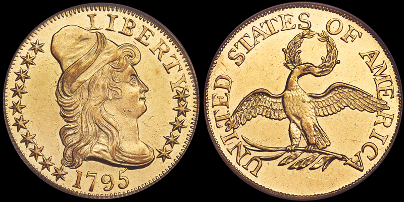 1795 Small Eagle $5.00 PCGS AU58, image courtesy of Heritage