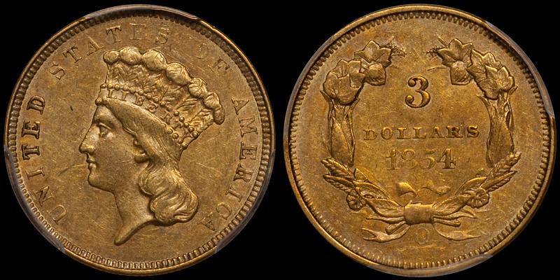 1854-O $3.00 PCGS AU53 CAC