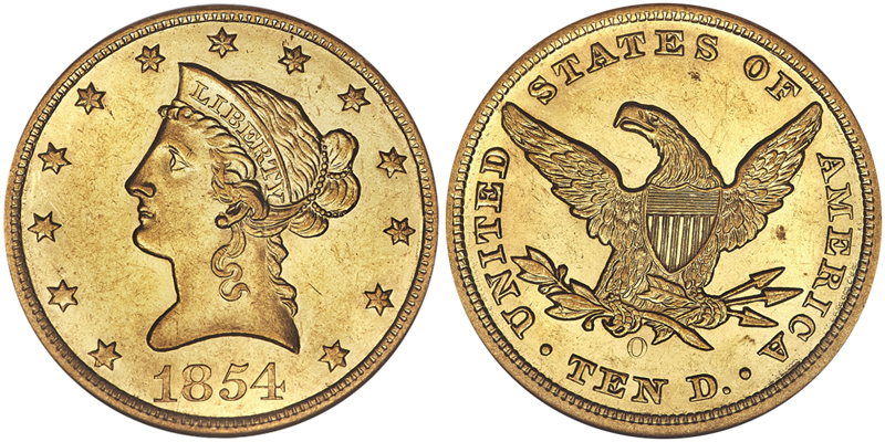 1854-O $10.00 NGC MS61, courtesy of Heritage