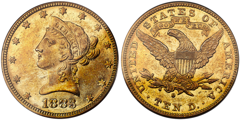 1883-O $10.00 PCGS AU58, courtesy of Heritage