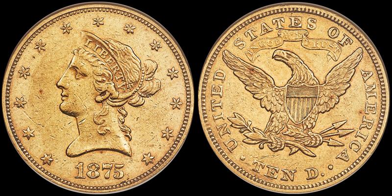 1875 $10.00 NGC AU50, image courtesy of Heritage