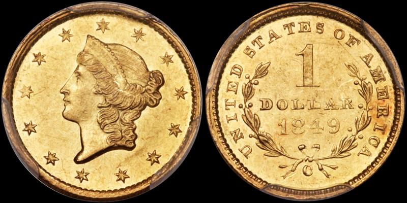 1849-C Open Wreath $1.00 PCGS MS62, image courtesy of Heritage