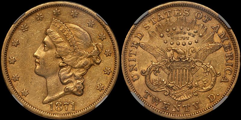 1871-CC $20.00 NGC AU50