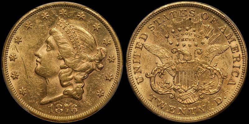 1876-CC $20.00 PCGS AU58