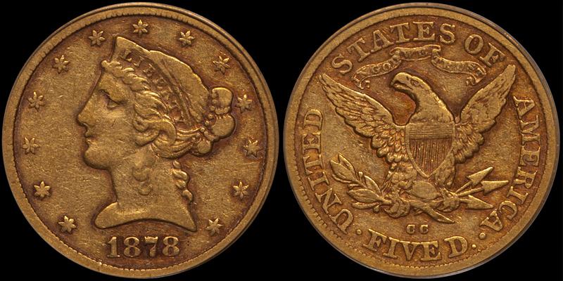 1878-CC $5.00 PCGS VF25 CAC