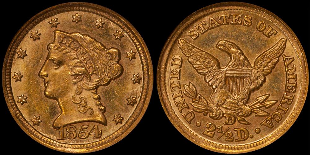 1854-D $2.50 NGC MS64, ex Duke's Creek