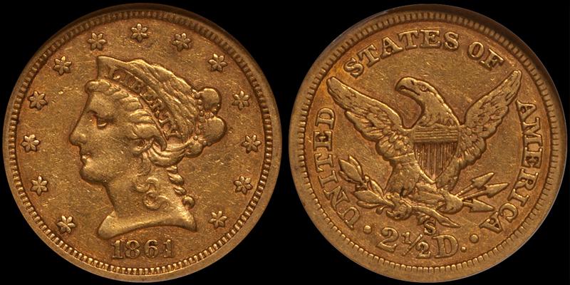 1861-S $2.50 NGC EF45 CAC