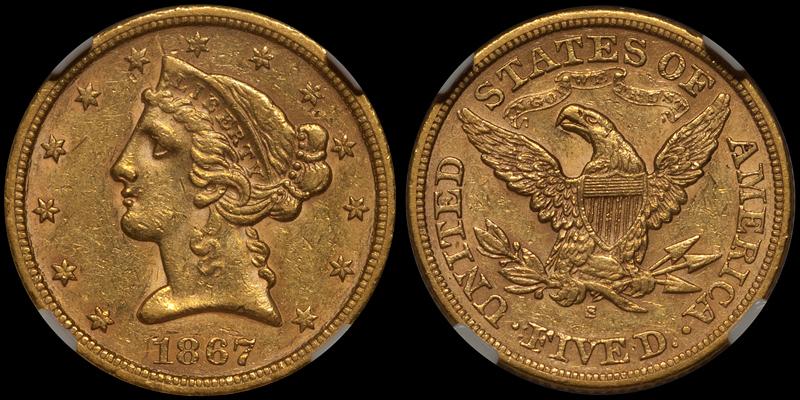 1867-S $5.00 NGC AU58 CAC