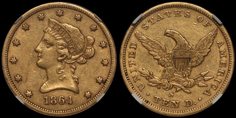 1864-S $10.00 NGC EF45