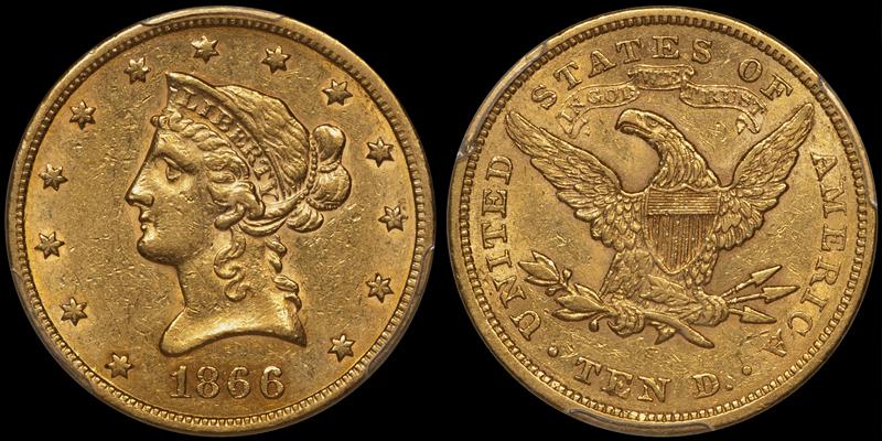 1866-S Motto $10.00 PCGS AU55 CAC