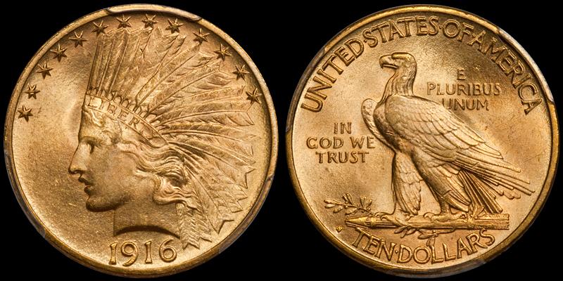 1916-S $10.00 PCGS MS64+ CAC