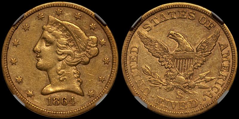 1864-S $5.00 NGC EF45