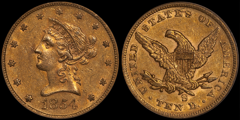 1854-S $10.00 PCGS AU50 CAC; one final former-DWN inventory item that fits the criteria we imagined for this blog.