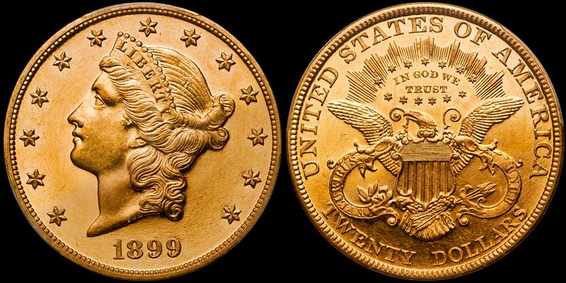 1899 $20.00 PCGS PR63+ CAM, CAC