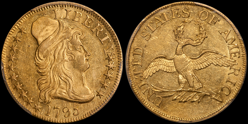 1795 Small Eagle $5.00 PCGS AU58