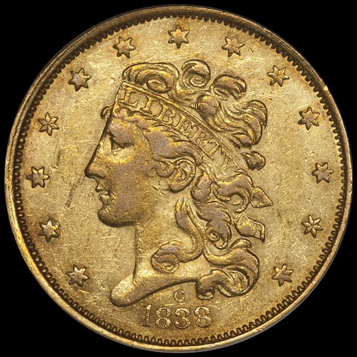 1838-C $5.00 NGC AU55