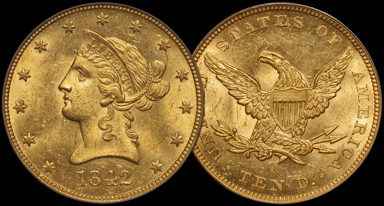 1842-O $10.00 PCGS MS63 CAC, a DWN Unicorn Coin