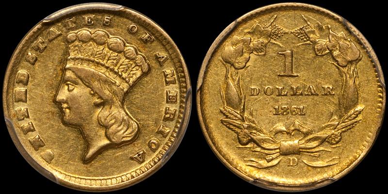 1861-D $1.00 PCGS AU55 CAC