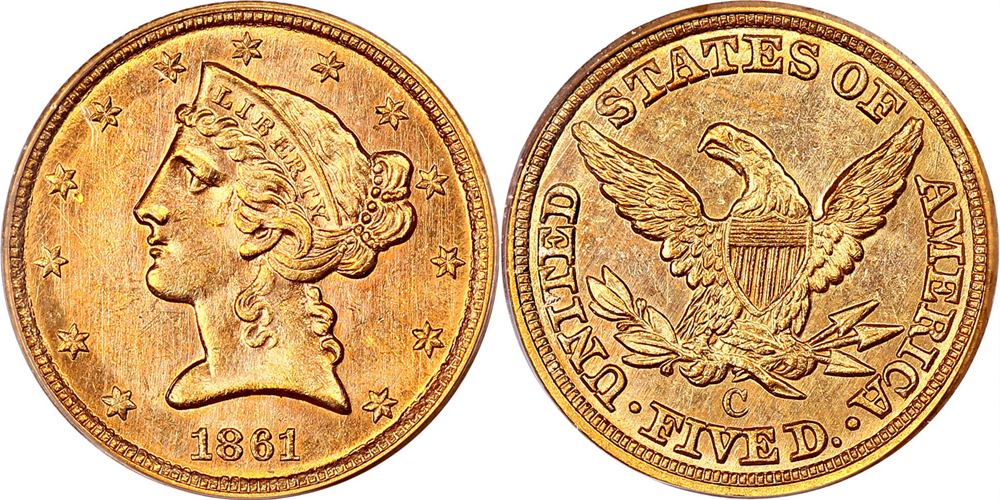 Finest Known 1861-C $5.00 PCGS MS63 CAC