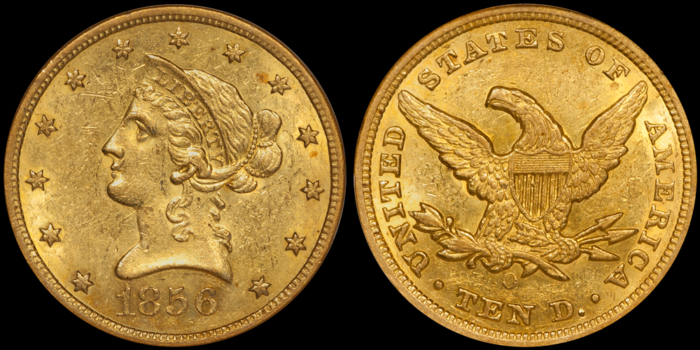 1856-O $10. NGC MS60 CAC, from the  New England Collection