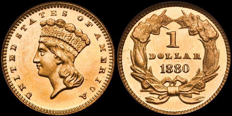 1880 $1.00 NGC PR64CAM CAC, ex Eliasberg