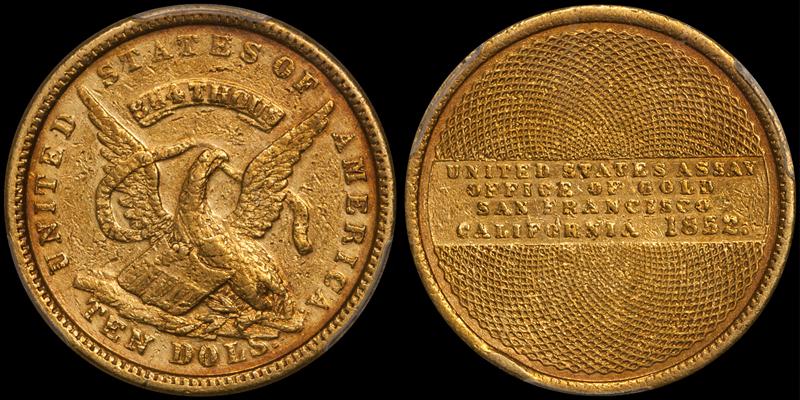 1852 $10.00 Assay PCGS AU50