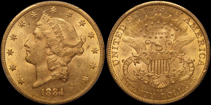 1884-CC $20.00 PCGS MS62
